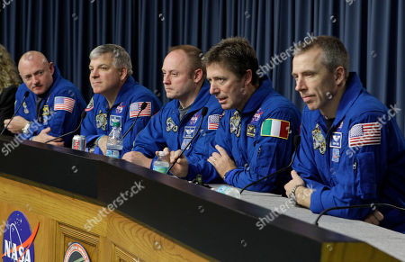 Roberto Vittori, Greg Johnson, Mark Kelly, Mike Fincke, Greg Chamitoff, Drew Feustel After a 16 day mission to the International Space Station the crew of space shuttle Endeavour, from left, commander Mark Kelly, pilot Greg Johnson, mission specialist Mike Fincke, European Space Agency astronaut Roberto Vittori, of Italy, and mission specialist Drew Feustel answer questions during a news conference at the Kennedy Space Center in Cape Canaveral, Fla