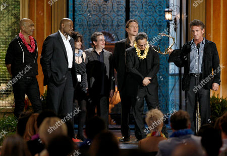 "Sean Penn, Taylor Negron, Forest Whitaker, Amy Heckerling, Brian Backer, Judge Reinhold, Robert Romanus Sean Penn, right, accepts the award for guy movie hall of fame for ""Fast Times at Ridgemont High"" as, from left, Taylor Negron, Forest Whitaker, Amy Heckerling, Brian Backer, Judge Reinhold, and Robert Romanus look on at the Spike TV Guys Choice Awards, in Culver City, Calif"