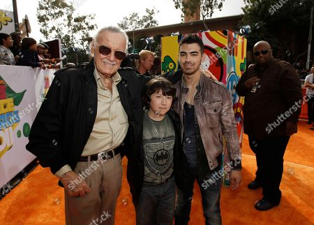 Stock Picture of Stan Lee, Frankie Jonas, Joe Jonas From left, Stan Lee, Frankie Jonas and Joe Jonas arrive at Nickelodeon's 24th Annual Kids' Choice Awards, in Los Angeles