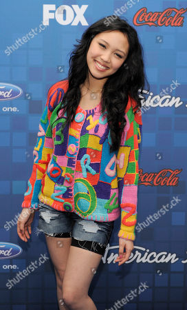 """Thia Megia American Idol"""" finalist Thia Megia poses at the """"American Idol"""" Finalists Party in Los Angeles"""