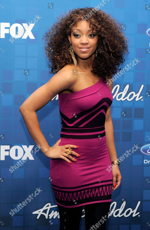 """Stock Image of Ashthon Jones American Idol"""" finalist Ashthon Jones poses at the """"American Idol"""" Finalists Party in Los Angeles"""