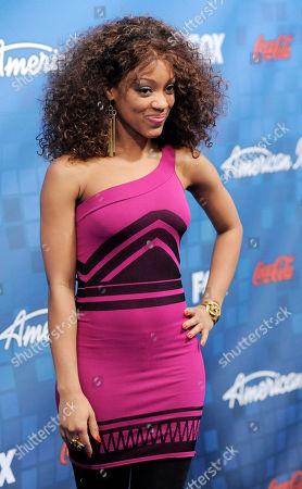 "Ashthon Jones American Idol"" finalist Ashthon Jones poses at the ""American Idol"" Finalists Party in Los Angeles"