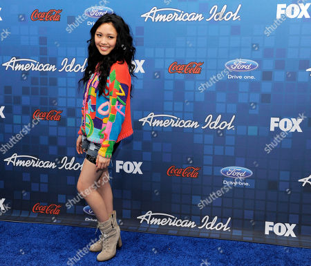 """Thia Megia American Idol"""" finalist Thia Megia looks back for photographers at the """"American Idol"""" Finalists Party in Los Angeles"""