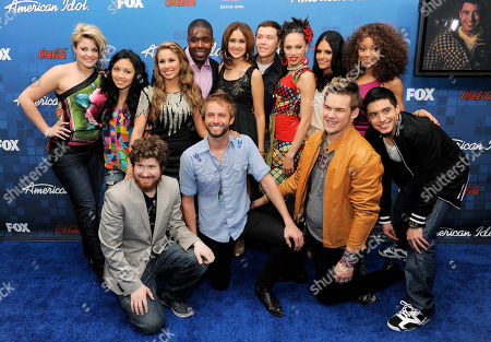 "Lauren Alaina, Thia Megia, Haley Reinhart, Jacob Lusk, Karen Rodriguez, Scotty McCreery, Naima Adedapo, Pia Toscano, Ashthon Jones, Casey Abrams, Paul McDonald, James Durbin, Stefano Langone American Idol"" finalists pose together at the ""American Idol"" Finalists Party in Los Angeles, . In the front row from left to right are Casey Abrams, Paul McDonald, James Durbin and Stefano Langone. In the back row from left to right are Lauren Alaina, Thia Megia, Haley Reinhart, Jacob Lusk, Karen Rodriguez, Scotty McCreery, Naima Adedapo, Pia Toscano and Ashthon Jones"