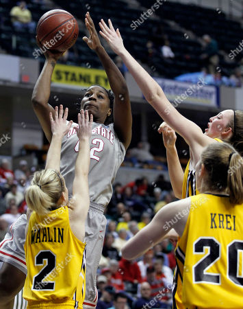 Kamille Wahlin, Kelly Krei, Morgan Johnson, Jantel Lavender Ohio State center Jantel Lavender shoots over Iowa guard Kamille Wahlin (2), forward Kelly Krei and center Morgan Johnson in the second half of an NCAA college basketball game in the Big Ten conference tournament in Indianapolis, . Ohio State defeated Iowa 71-61