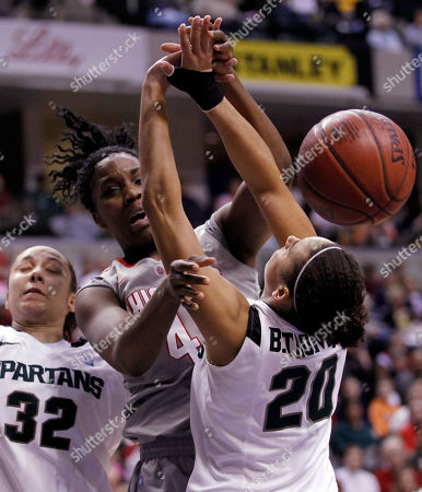 Jantel Lavender, Kalisha Keanem Brittney Thomas Ohio State center Jantel Lavender, center, is fouled by Michigan State's Brittney Thomas (20) and Kalisha Keane in the second half of an NCAA college basketball game in the Big Ten conference tournament semifinals in Indianapolis, . Ohio State defeated Penn State 72-57