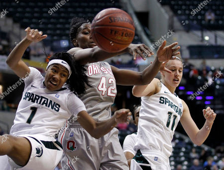 Jasmine Thomas, Annalise Pickrel, Jantel Lavender Ohio State center Jantel Lavender, center, Michigan State guard Jasmine Thomas, left, and guard Annalise Pickrel go for a rebound in the first half of an NCAA college basketball game in the Big Ten conference tournament semifinals in Indianapolis
