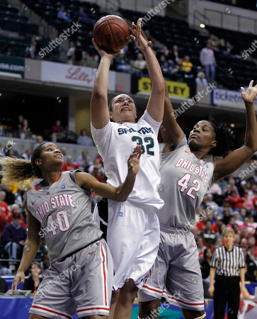 Kalisha Keane, Jantel Lavender, Brittany Johnson Michigan State forward Kalisha Keane, center, shoots between Ohio State guard Brittany Johnson, left, and center Jantel Lavender in the first half of an NCAA college basketball game in the Big Ten conference tournament semifinals in Indianapolis