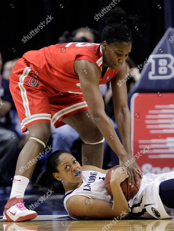 Mia Nickson, Jantel Lavender Ohio State center Jantel Lavender, top, attempts to tie up Penn State forward Mia Nickson in the second half of an NCAA college basketball game for the championship of Big Ten tournament in Indianapolis, . Ohio State defeated Penn State 84-70