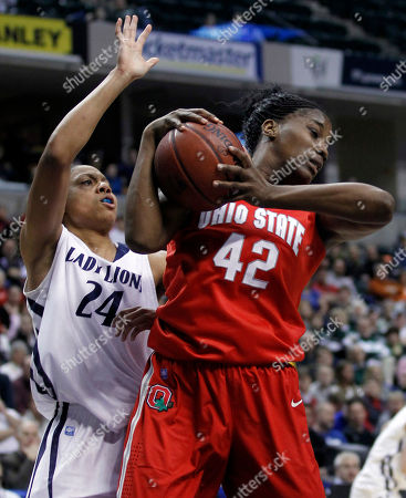 Jantel Lavender, Mia Nickson Ohio State center Jantel Lavender, right, grabs a rebound in front of Penn State forward Mia Nickson in the first half of an NCAA college basketball game in the final of Big Ten tournament in Indianapolis