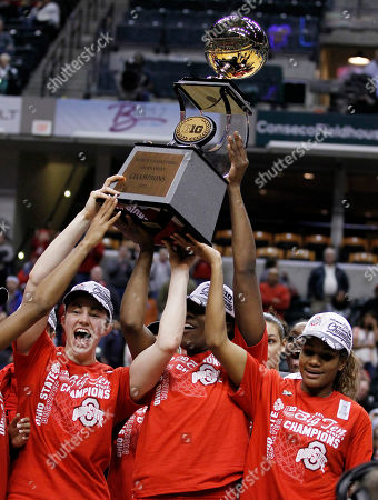 Sarah Schulze, Jantel Lavender, Brittany Johnson Ohio State's Sarah Schulze, left, Jantel Lavender, and Brittany Johnson, right, hold the championship trophy after Ohio State defeated Penn State 84-70 in an NCAA college basketball game, winning the Big Ten tournament in Indianapolis