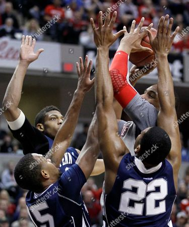 Andrew Jones, David Jackson, Jeff Brooks, Jared Sullinger Ohio State forward Jared Sullinger, top right, is surrounded by Penn State players Jeff Brooks, top left, David Jackson, bottom left, and Andrew Jones as he shoots in the first half of an NCAA college basketball game in the championship of the Big Ten Conference tournament in Indianapolis