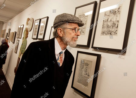 Robert Crumb Comic book author and illustrator Robert Crumb tours an exhibit of his work at the Society of Illustrators in New York