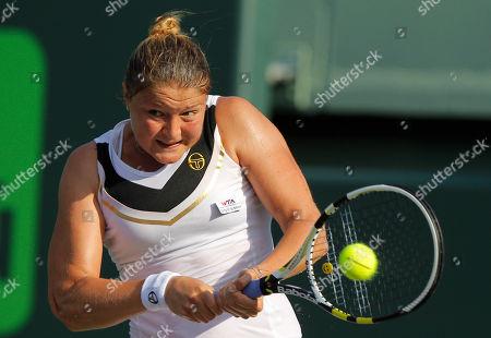 Dinara Safina Dinara Safina, of Russia, returns the ball to Vera Zvonareva, also of Russia, at the Sony Ericsson Open tennis tournament in Key Biscayne, Fla