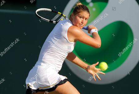 Dinara Safina Dinara Safina of Russia returns the ball to Vera Zvonareva of Russia at the Sony Ericsson Open tennis tournament in Key Biscayne, Fla