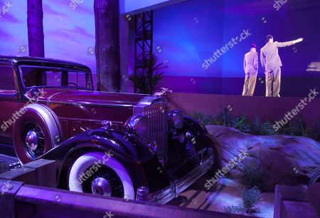 Stock Photo of A limo once belonging to mobster Bugsy Siegel is seen on display at the Mob Experience at the Tropicana Hotel and Casino, in Las Vegas. The Mob Experience which opens Wednesday on the Las Vegas Strip, is an interactive attraction featuring gangster memorabilia and commentary from film mobsters James Caan, Mickey Rourke and Frank Vincent. Speakeasies, bootleggers, gun-wielding crime lords, easy women and gruff Italian accents pay homage to Las Vegas' mob roots in a pair of new attractions glamorizing Sin City's criminal history