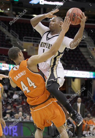 Demetrius Ward, Anthony Henderson Western Michigan's Demetrius Ward (1) drives up and over Bowling Green's Mike Dabney (44) in the second half of an NCAA college basketball game in the quarterfinals of the Mid-American Conference tournament in Cleveland, Oh., . Western Michigan won the game 67-56