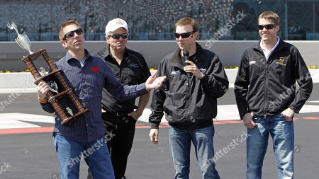Greg Biffle, Matt Kenseth, John Force, David Ragan NASCAR driver Greg Biffle, left, is congratulated by NHRA driver John Force, second from left, and fellow NASCAR drivers Matt Kenseth, second from right, and David Ragan, right, after winning a four-wide drag racing exhibition at ZMax Raceway in Concord, N.C., to promote the VisitMyrtleBeach.com NHRA Four-Wide Nationals which is being held at the track on April 14-17
