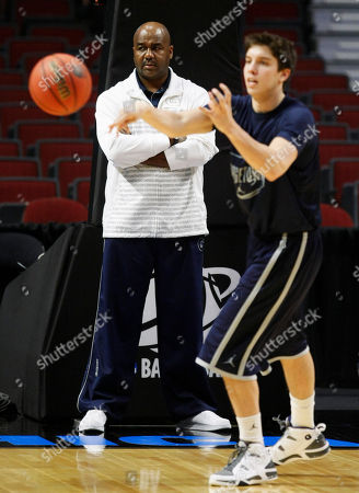 John Thompson III, John Caprio Georgetown head coach John Thompson III watches John Caprio and his team during practice for an NCAA Southwest Regional tournament basketball game in Chicago, . Georgetown will face Virginia Commonwealth in the second round Friday