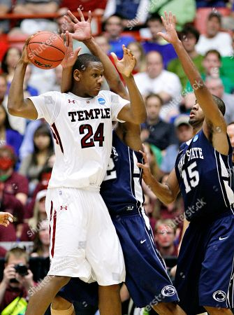 Lavoy Allen, David Jackson, Andrew Jones Temple forward Lavoy Allen (24) is pressured by Penn State forward David Jackson (15) and Penn State forward Andrew Jones, rear, in Tucson, Ariz. during an NCAA college basketball tournament second round game. Temple won 66-64