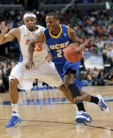 James Nunnally, Alex Tyrus UC Santa Barbara's James Nunnally, right, makes a move to get around Florida's Alex Tyrus during the first half of a Southeast regional second-round NCAA tournament college basketball game in Tampa, Fla