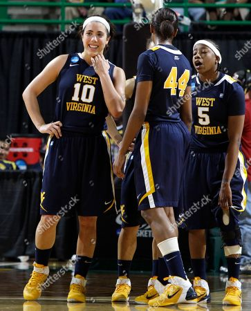 Liz Repella, Madina Ali, Sarah Miles West Virginia's Liz Repella (10), Madina Ali (44) and Sarah Miles (5) react as the final seconds of a game against Houston wind down in the first round of the NCAA women's college basketball tournament, in Waco, Texas. West Virginia won 79-73