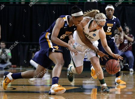 Asya Bussie, Melissa Jones, Sarah Miles Baylor guard Melissa Jones, center, wins control of a loose ball against West Virginia center Asya Bussie, left, as West Virginia guard Sarah Miles (5) looks on in the first half of a second-round game of the NCAA women's college basketball tournament, in Waco, Texas