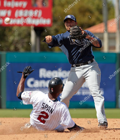 Felipe Lopez, Denard Span Tampa Bay Rays second baseman Felipe Lopez tries to turn a double play in the third inning as Minnesota Twins runner Denard Span is out at second in the a spring training baseball game at Hammond Stadium in Fort Myers, Fla
