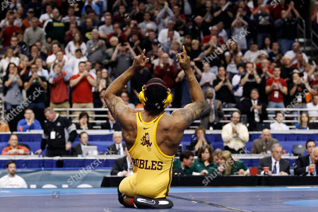 Anthony Robles Arizona State's Anthony Robles reacts after beating Iowa's Matt McDonough in their 125-pound finals match at the NCAA Division I Wrestling Championships in Philadelphia. Robles, born without a right leg, completed a 36-0 season at Arizona State with an NCAA wrestling title. Now, Robles is turning to a book and movie of his life and motivational speaking