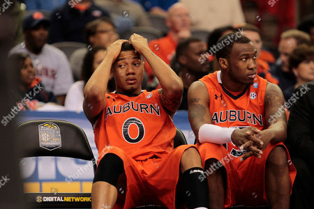 Stock Photo of Auburn guard Josh Langford (0) reacts in the closing moments of an NCAA Southeastern Conference college basketball game against Georgia, in Atlanta. Georgia won 69-51