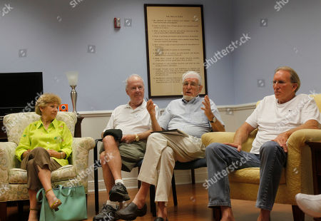 Stock Image of Gifford Dean, Judy Vitrano, Don Walsh, David Beuttenmuller 83-year-old Gifford Dean, second from right, his head wrapped in gauze from a recent surgery, leads participants in a support group for older adults at the Hanley Center, an addiction treatment and rehab center in West Palm Beach, Fla. A remarkable shift in the number of older adults reporting substance abuse problems is making this scene more common. Others from left, Judy Vitrano, Don Walsh and David Beuttenmuller, far right