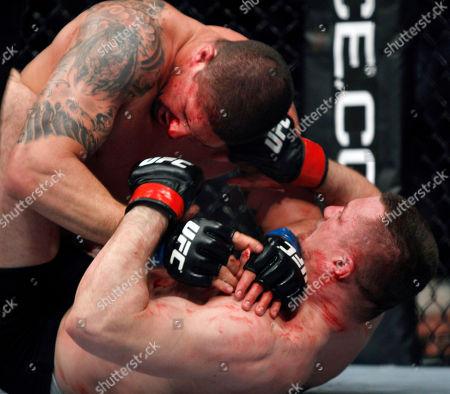 Brendan Schaub, Mirko Cro Cop Brendan Schaub, left, takes down Mirko Cro Cop during their mixed martial arts match at UFC 128, in Newark, N.J. Schaub won by KO