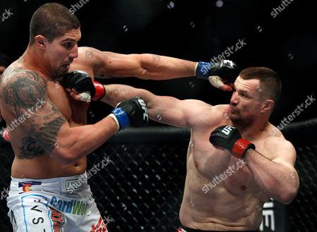 Brendan Schaub, Mirko Cro Cop Brendan Schaub, left, and Mirko Cro Cop trade punches during their mixed martial arts match at UFC 128, in Newark, N.J. Schaub won by KO