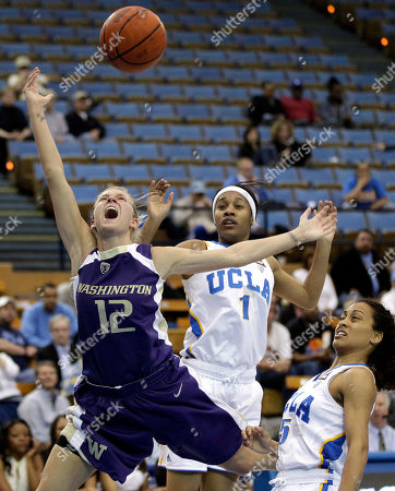 Sarah Morton, Mariah Williams, Nina Earl Washington guard Sarah Morton, left, is fouled by UCLA guard Mariah Williams, right, as UCLA's Nina Earl, center, watches during the first half of an NCAA college basketball game in Los Angeles