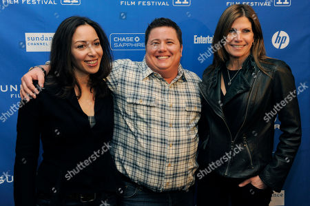"""Chaz Bono, Jennifer Elia, Mary Bono Mack Chaz Bono, center, subject of the Oprah Winfrey Network documentary film """"Becoming Chaz,"""" poses with his girlfriend Jennifer Elia, left, and his step-mother Mary Bono Mack at the premiere of the film at the 2011 Sundance Film Festival in Park City, Utah"""