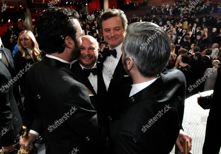 """Emile Sherman, Gareth Unwin,Colin Firth, Iain Canning From left, Emile Sherman, Gareth Unwin,Colin Firth, and Iain Canning celebrate after winning the award for best picture for """"The King's Speech"""" at the 83rd Academy Awards, in the Hollywood section of Los Angeles"""