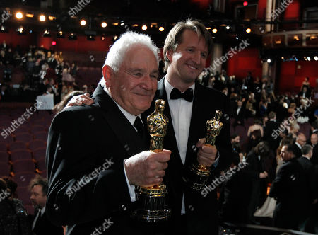 """David Seidler, Tom Hooper David Seidler, left, and Tom Hooper pose with the award for best picture for """"The King's Speech"""" at the 83rd Academy Awards, in the Hollywood section of Los Angeles"""