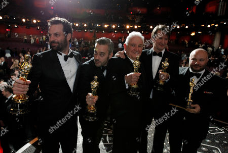 """David Seidler, Tom Hooper, Emile Sherman, Iain Canning, Gareth Unwin From left, Emile Sherman, Iain Canning, David Seidler, Tom Hooper and Gareth Unwin pose with the award for best picture for """"The King's Speech"""" at the 83rd Academy Awards, in the Hollywood section of Los Angeles"""