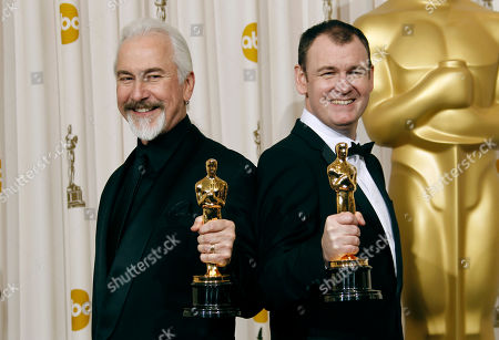 """Rick Baker, Dave Elsey Rick Baker, left, and Dave Elsey pose backstage with the Oscar for best makeup for """"The Wolfman"""" at the 83rd Academy Awards, in the Hollywood section of Los Angeles"""
