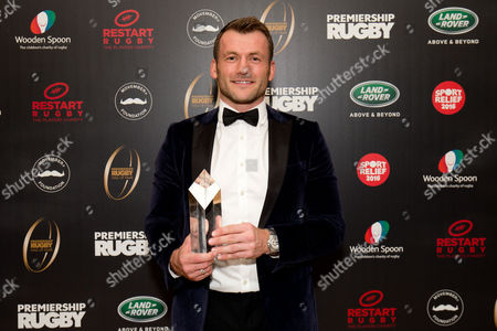 Mark Cueto with his award at the Premiership Rugby Hall