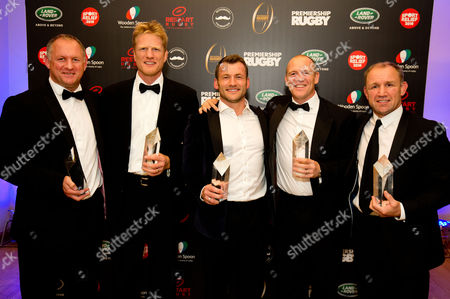 Left to Right: Richard Hill, Hugh Vyvyan, Mark Cueto, Mike Tindall & Neil Back with their awards at the Premiership Rugby Hall of Fame Dinner which was held on 13 October 2016 at the HAC in London. The event raised money for Sport Relief, Restart Rugby, Movember Foundation and Wooden Spoon and on the night Neil Back, Mark Cueto, Richard Hill, Mike Tindall and Hugh Vyvyan were inducted into the Premiership Rugby Hall of Fame Photo: Andrew Fosker for Premiership Rugby