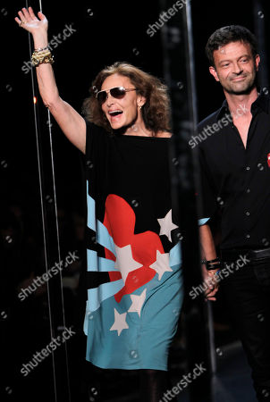 Diane von Furstenberg, Yvan Mispelaere Designer Diane von Furstenberg, left, and creative director Yvan Mispelaere greet the crowd after her show during Fashion Week in New York