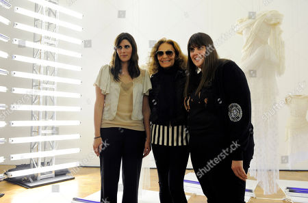 "Laura Mulleavy, Kate Mulleavy, Diane von Furstenburg This photo shows designers Laura Mulleavy, left, and her sister Kate, right, as they pose with Diane von Furstenburg at a preview of the sisters' first West Coast solo exhibition ""Rodarte: States of Matter,"" at the Museum of Contemporary Art in West Hollywood, Calif"
