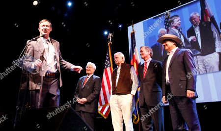 John Hickenlooper, Roy Romer, Dick Lamm, Bill Owens, Bill Ritter Gov. John Hickenlooper, left, is joined on stage with former Colorado governors Roy Romer, Dick Lamm, Bill Owens and Bill Ritter at Hickenlopper's inaugural Dinner and Dance in Denver on Tuesday night