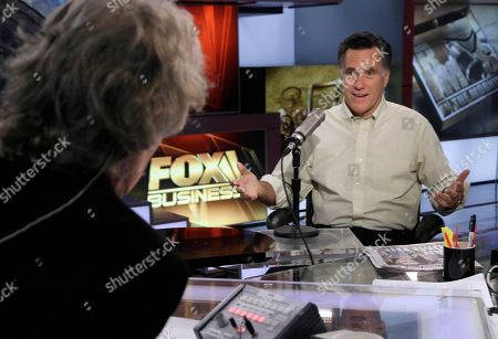 "Mitt Romney Former Massachusetts Gov. Mitt Romney, right, is interviewed by host Don Imus on the ""Imus in the Morning"" program on the Fox Business Network, in New York"