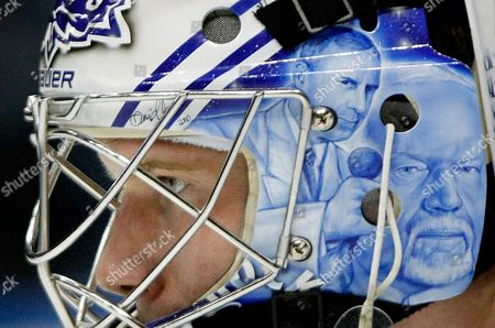 James Reimer Toronto Maple Leafs goalie James Reimer (34) looks on with the faces of broadcasters Ron MacLean, left, and Don Cherry from the television show Hockey Night on his helmet during the second period of an NHL hockey game against the Atlanta Thrashers, in Atlanta. Atlanta rallied to win the game 3-2 after Toronto lost Reimer to an injury early in the second period