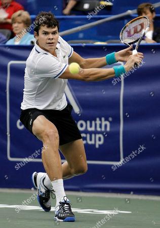 Milos Raonic Milos Raonic, of Canada, returns a shot against Robert Kendrick in a quarterfinal round match at the Regions Morgan Keegan Championships tennis tournament, in Memphis, Tenn. Raonic won 6-4, 3-6, 6-3