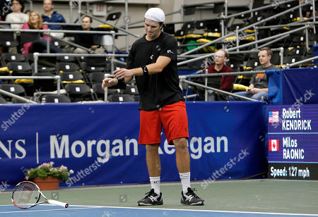 Robert Kendrick Robert Kendrick tosses his racket after losing a point to Milos Raonic, of Canada, in a quarterfinal round match at the Regions Morgan Keegan Championships tennis tournament, in Memphis, Tenn. Raonic won 6-4, 3-6, 6-3