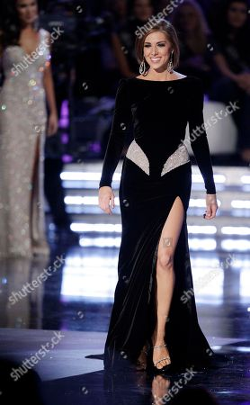 Stock Image of Claire Buffie Miss New York, Claire Buffie, walks on stage during the evening gown competition during the Miss America pageant, in Las Vegas