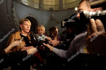 Stock Image of Cathie Black New York City Schools Chancellor Cathie Black, left, speaks to reporters in New York's City Hall after New York City Mayor Michael Bloomberg delivered the fiscal year 2012 budget
